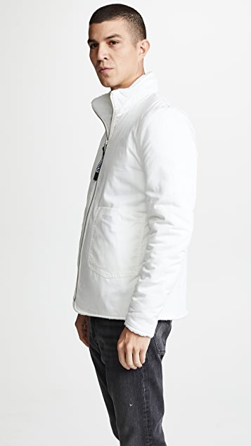 Stutterheim Reversible White Fleece Varby Zip Jacket