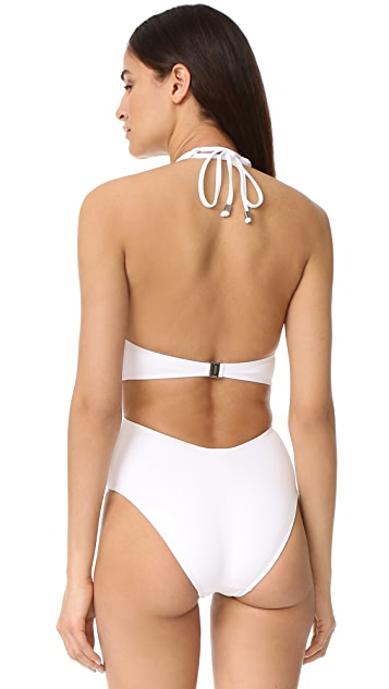 Suboo Matte White Twist Front One Piece