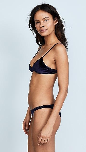 Suboo Indigo Velvet Bralette Bikini Top