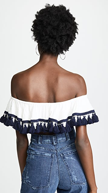Suboo Playa Off Shoulder Frill Crop Top