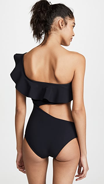 Suboo Bonded Cutout Ruffled One Piece Swimsuit