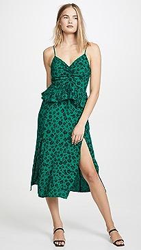 Leopard Lights Gathered Split Dress