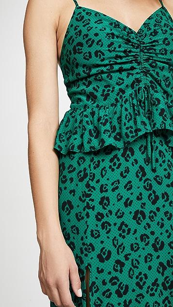 Suboo 豹纹裥褶开叉连衣裙