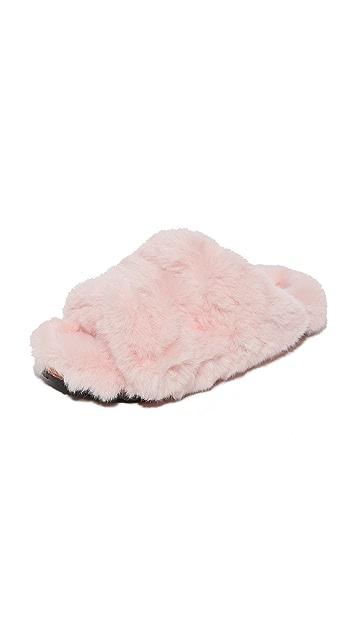 Suecomma Bonnie Faux Fur Detailed Flat Slides