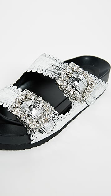 Suecomma Bonnie Embellished Buckle Flat Sandals
