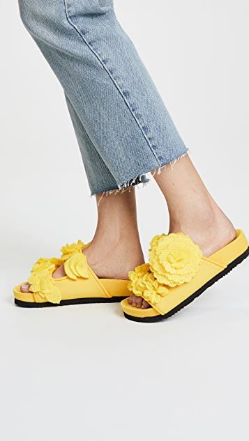 Suecomma Bonnie Flower Embellished Mesh Slides