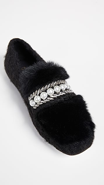 Suecomma Bonnie Embellished Faux Fur Loafers