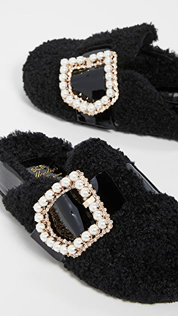 Suecomma Bonnie Jewel Buckle Detailed Eco-Fur Sandals