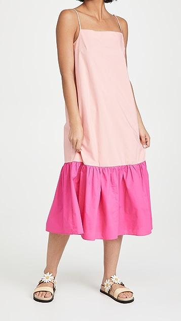 Sokie Collective 细肩带层褶中长连衣裙