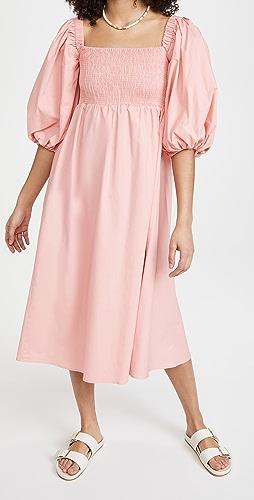 Sokie Collective - Puff Sleeve Smocked Midi Dress