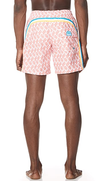 SUNDEK Leaves Print Board Shorts