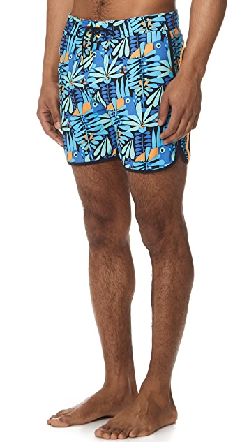 SUNDEK Long Fixed Waist Board Shorts