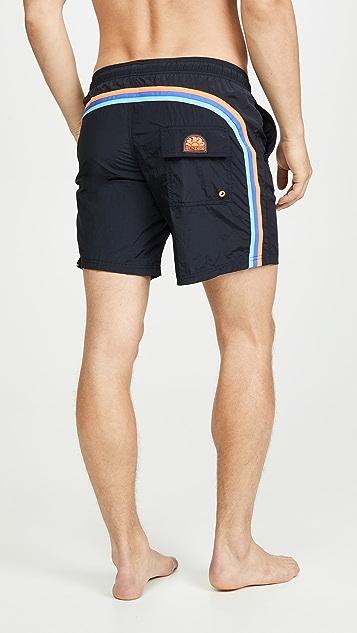 SUNDEK Solid Swim Shorts with Elastic Waist