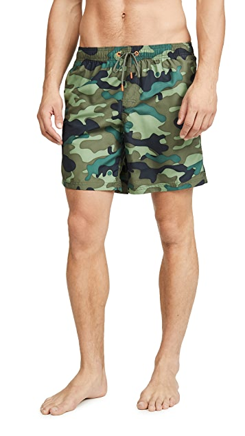 SUNDEK Camouflage Swim Shorts with Elastic Waist