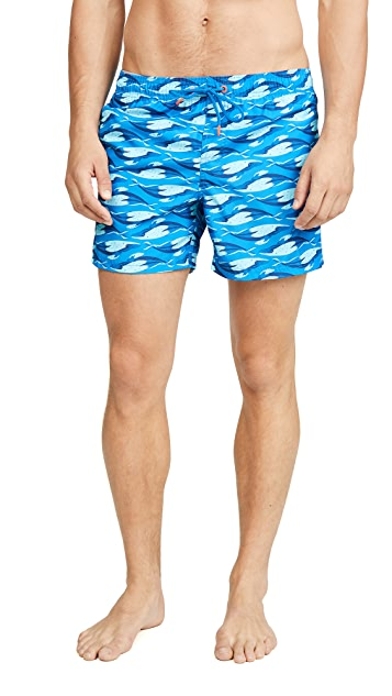 SUNDEK Ocean Print Swim Shorts with Elastic Waist