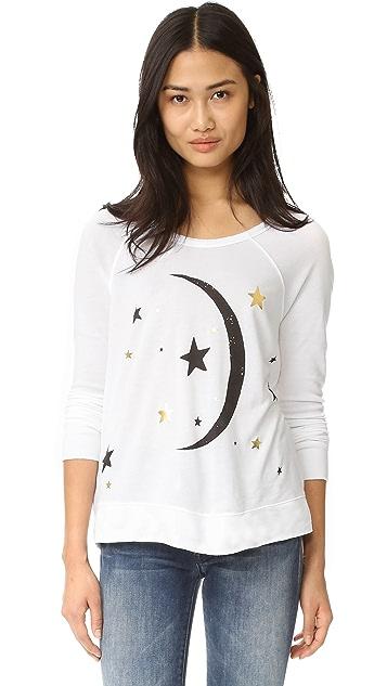 SUNDRY Moon & Stars Crop Pullover