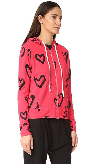 SUNDRY Hearts All Over Zip Hoodie