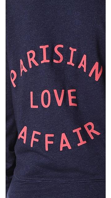 SUNDRY Parisian Love Affair Zip Hoodie