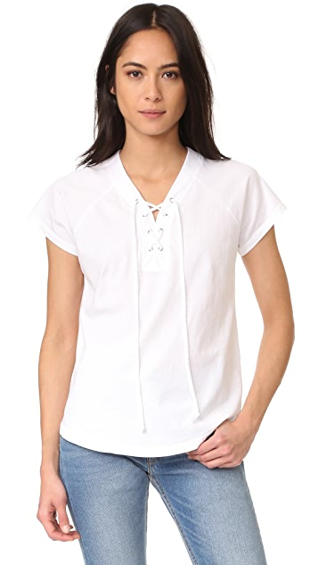SUNDRY Lace Up Tee