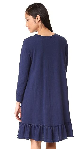SUNDRY Drop Waist Ruffle Dress