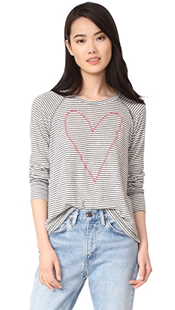SUNDRY Heart Outline Open Side Tee