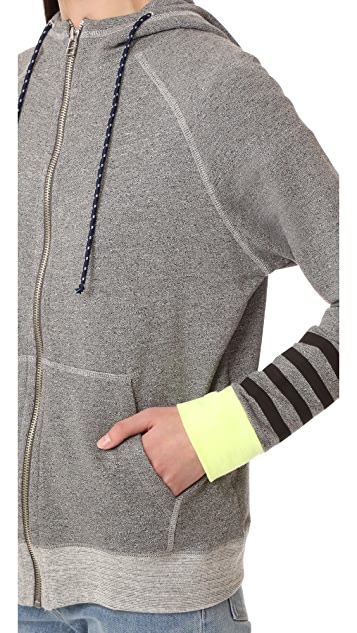 SUNDRY Colorblock Zip Up Hoodie