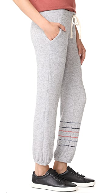 SUNDRY Embroidered Stripes Pocket Sweatpants