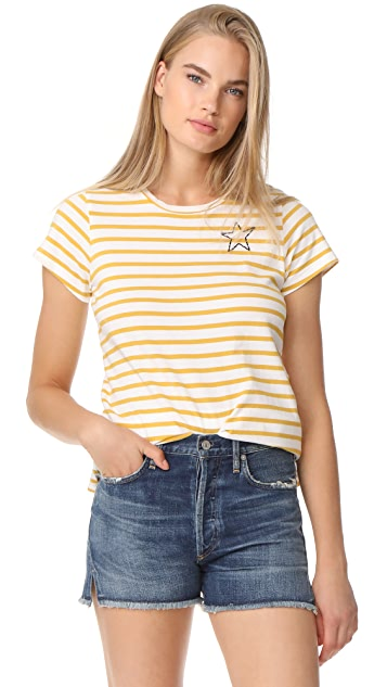Stars And Hearts Crew Neck Tee in White. - size 0 / XS (also in 1 / S,2 / M,3 / L) Sundry
