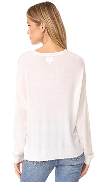 SUNDRY Star Patches Crew Neck Sweater