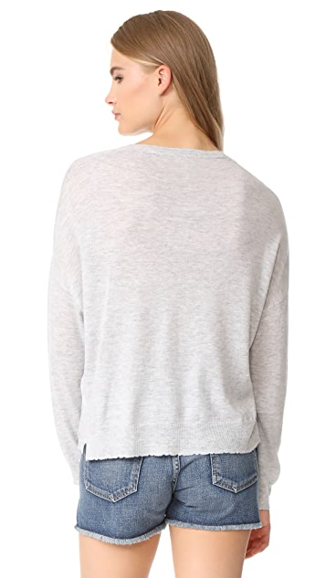 SUNDRY Daisy Patches Crew Neck Sweater