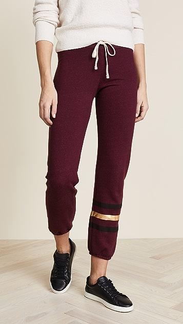SUNDRY Sweatpants with Foil Stripes - Burgundy
