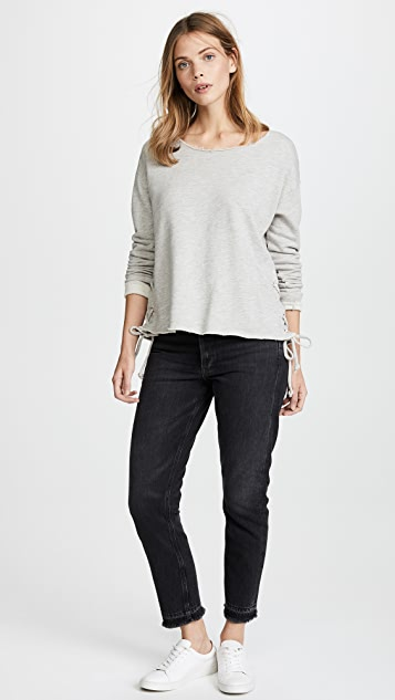SUNDRY Lace Up Sweatshirt