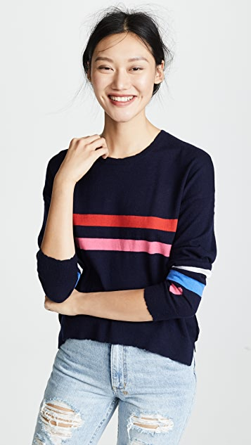 SUNDRY Stripes & Heart Sweater