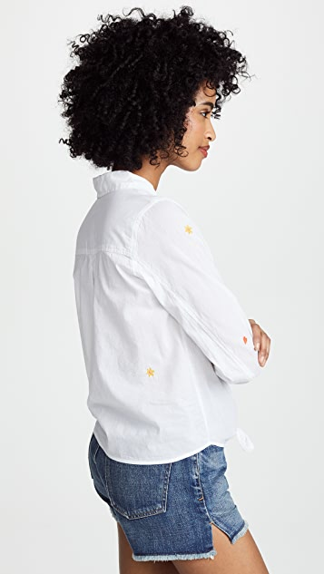 SUNDRY Ditzy Floral Tie Front Shirt