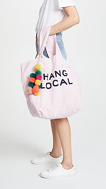 SUNDRY Hang Local Tote with Pom Poms