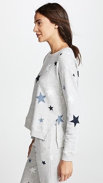 SUNDRY Stars High Low Slit Sweatshirt
