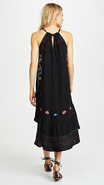 SUNDRY Shirred Midi Dress