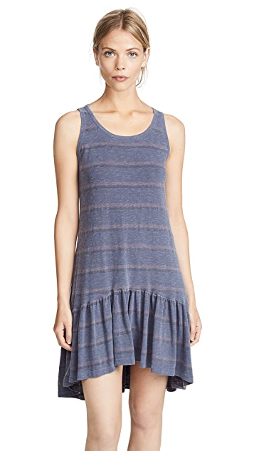 SUNDRY Stripes Tank Ruffle Dress