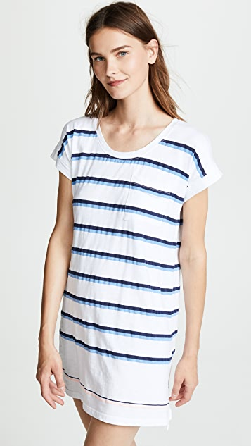 SUNDRY Stripes Roll Sleeve Dress