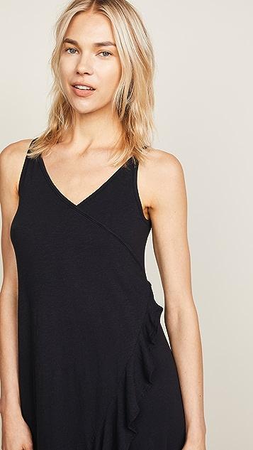 SUNDRY Crossover Ruffle Midi Dress