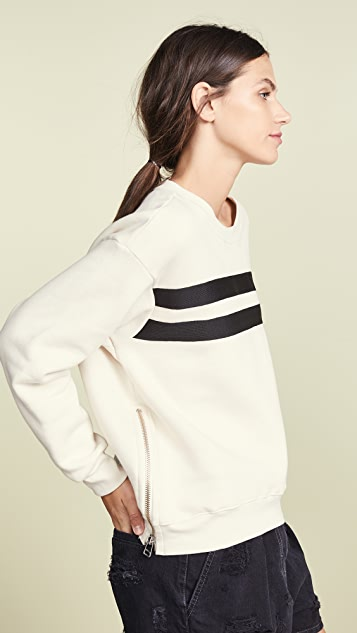 SUNDRY Side Zipper Crew Neck