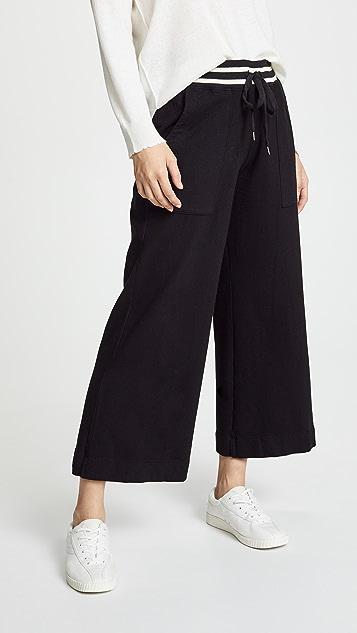SUNDRY Flare Pants with Stripe Rib