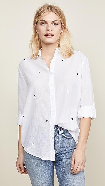 SUNDRY Hearts + Stars Oversized Button Down Shirt