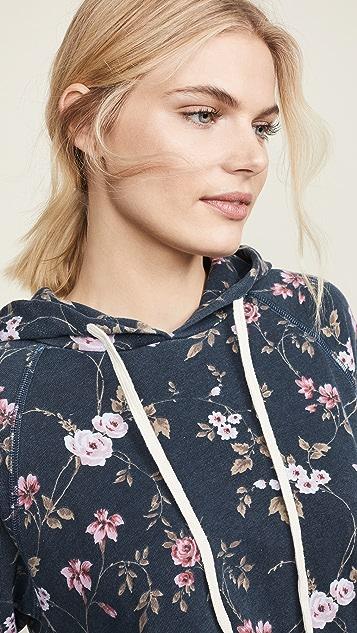 SUNDRY Floral Pocket Raglan Hoodie