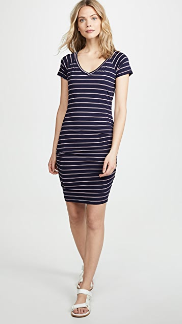 SUNDRY Striped V Neck Dress