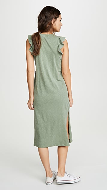 SUNDRY Ruffled Midi Dress