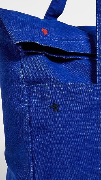 SUNDRY Складная объемная сумка Hearts + Stars с короткими ручками