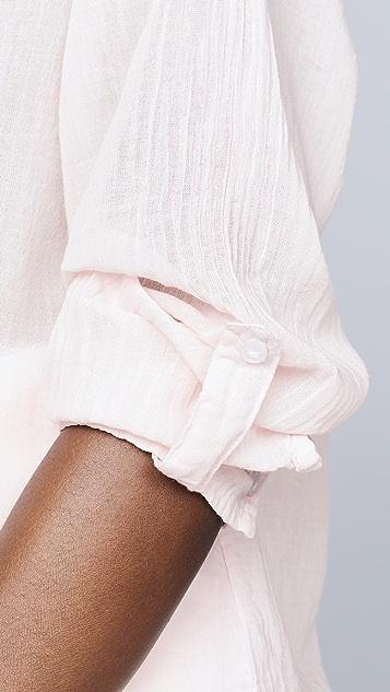 SUNDRY Cotton Gauze Button Down