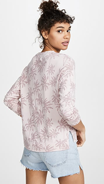 SUNDRY Palm Print High Low Crew Neck