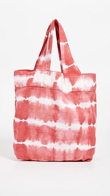 SUNDRY Объемная сумка с короткими ручками в технике узелкового батика